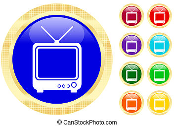 Icon of TV on shiny buttons