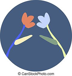 Icon of two frower on dark background vector illustration