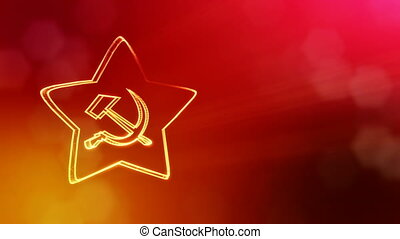 icon of USSR. Background made of glow particles as vitrtual...
