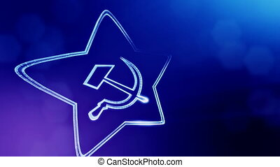 icon of USSR. Background made of glow particles as vitrtual hologram. 3D seamless animation with depth of field, bokeh and copy space. Blue v5