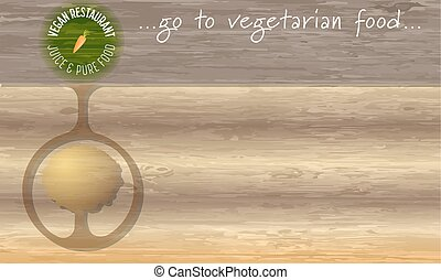 Icon of vegan restaurant and wooden background