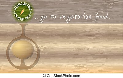 Icon of vegetarian food and wooden background