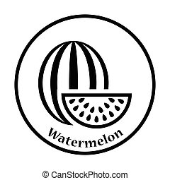 Icon of Watermelon. Thin circle design. Vector illustration.