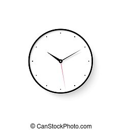Icon of white clock face with shadow on wall background
