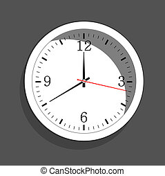 Icon of white clock with shadow. Vector