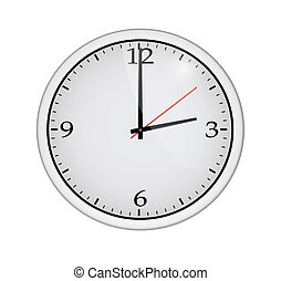 Icon of white clock with shadow. Vector illustration