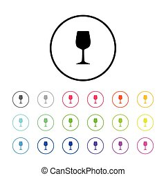 Icon of Wine Glass - Icon Illustration with 18 Color...