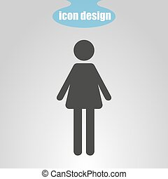 Icon of woman on a gray background. Vector illustration