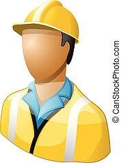 Icon of worker in hard hat and uniform