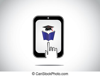 icon of young student reading book with graduation cap in a tablet and a white hand silhouette touching it - professional educational online course for distance learning and evening college concept``