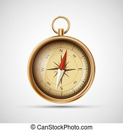 Icon old metal compass. Stock vector illustration.