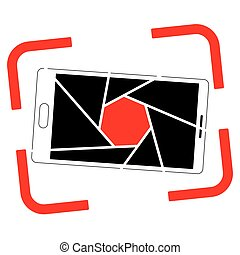 Icon or logo with a picture of a smartphone. Aperture and frame of the viewfinder.
