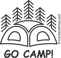 Icon or logo with tent and the wood at a background with the inscription go camp