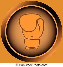 Icon orange boxing glove - Icon the button with a color...