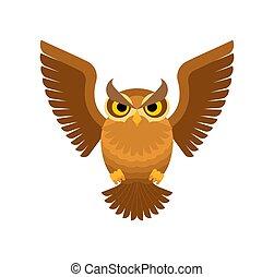 icon., pájaro, eagle-owl, ilustración, vector, isolated., búho