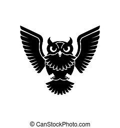 icon., pájaro, eagle-owl, signo., ilustración, vector, búho