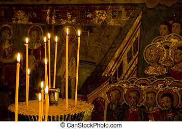 Icon paintings in monastery interior - Iconography painted...