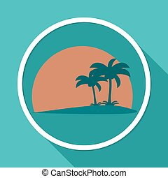 Icon Palm trees on white circle with a long shadow