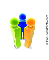 Icon People 1 - Icon style 3D render. High res. Isolated on...