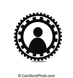 Icon people in a circle of gears