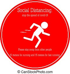 Icon people running, stop the spread of covid-19 concept ...