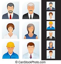 icon., pessoas, vário, avatars, ocupações