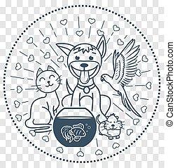 icon pets sitting  cat dog