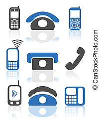 Set of icons of phone. A vector illustration