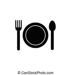 icon., piastra, forchetta, coltello