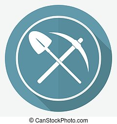 Icon pick and shovel on white circle with a long shadow