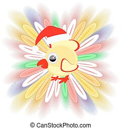 icon picture cockerel symbol Christmas rooster chicken. with feathers. to spend for design, the press, t-shirts. vector illustration.