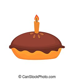 icon pie cake dessert isolated