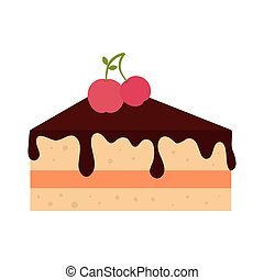 icon pie slice cake dessert isolated