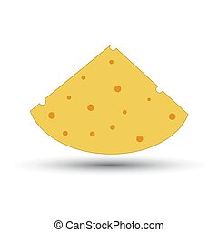 Icon piece of cheese on a white background
