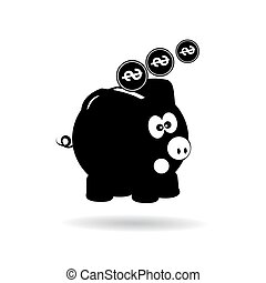 Icon Pig piggy bank with coins black on a white background.