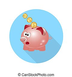 icon pig piggy bank with coins long shadow.