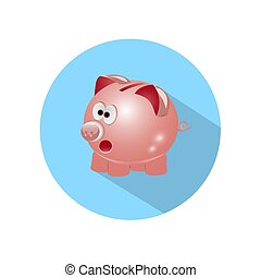 Icon Pig piggy bank with long shadow.