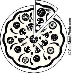 Icon Pizza isolated on white background. Food silhouette.