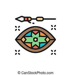 icon., plano, vector, lanza, africano, línea, color,...
