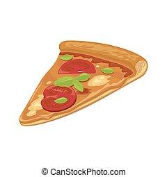 icon., plat, couper, affiche, toile, hava., logotype, isolé, illustration, arrière-plan., vecteur, brochure, menus, blanc, pizza margherita