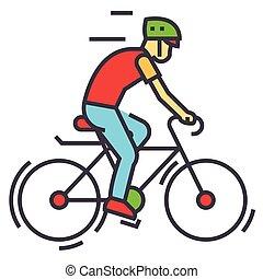 icon., plat, vecteur, cyclisme, linéaire, vélos, editable, concept., aller bicyclette, isolé, illustration, concurrence, course, stroke., fond, cyclistes, bycicle, blanc, sport, homme, ligne