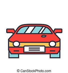 icon., plat, vecteur, linéaire, concept., editable, isolé, illustration, voiture, course, stroke., fond, blanc, courses, ligne