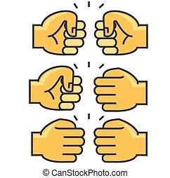 icon., plat, vector, lineair, achtergrond, concept., editable, vrijstaand, illustratie, buil, unie, stroke., fist, witte , vriendschap, lijn