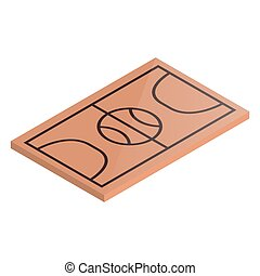 Icon playground basketball in isometric, vector illustration.