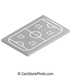Icon playground ice hockey in isometric, vector illustration.