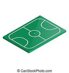 Icon playground soccer in isometric, vector illustration.