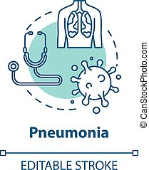 icon., pneumonia, rgb, diagnosis., respiratorio, bronquios, ...