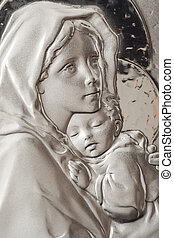 Virgin Mary And Baby Jesus - Icon Portrait Of Virgin Mary...