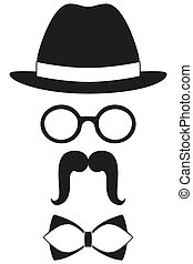 Icon poster man father dad day avatar element set hat glasses mustache bow tie silhouette.