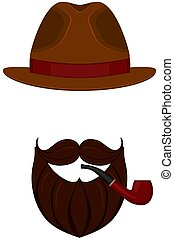 Icon poster man father dad day avatar elements set hat mustache smoking tobacco pipe beard, beaver.